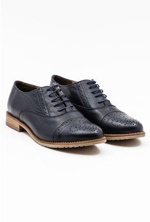 Pantofi Oxford bleumarin din piele naturala