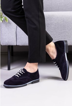 Pantofi Oxford bleumarin inchis din piele naturala intoarsa