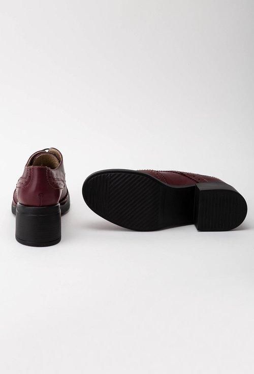 Pantofi oxford bordo din piele naturala