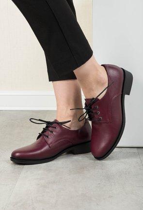 Pantofi Oxford burgundy din piele naturala Juliana