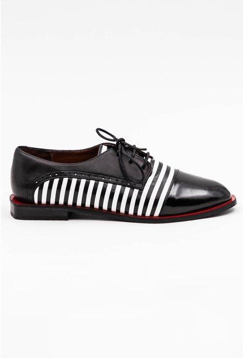 Pantofi Oxford din piele naturala cu imprimeu cu dungi