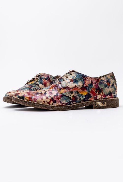 Pantofi Oxford din piele naturala cu imprimeu floral multicolor