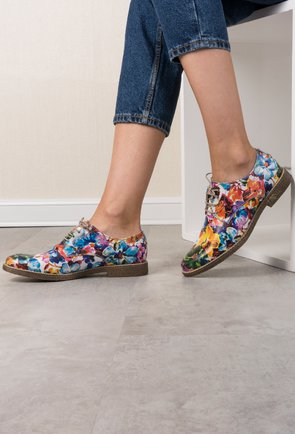 Pantofi Oxford cu imprimeu floral din piele naturala  Fiorentin