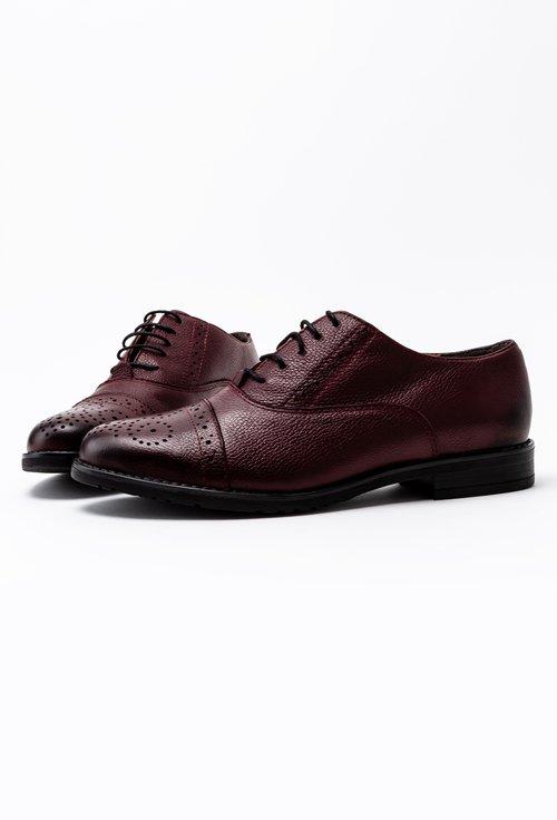 Pantofi Oxford bordo din piele naturala Ida