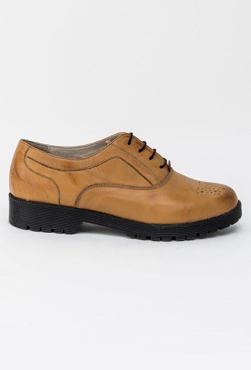 Pantofi Oxford din piele naturala maro deschis Silvana