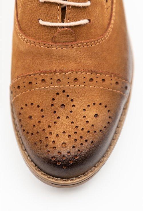 Pantofi Oxford cognac din piele naturala