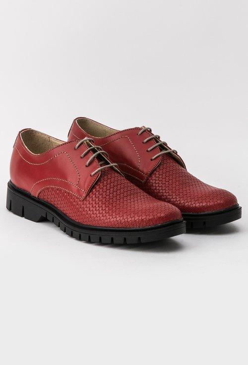 Pantofi Oxford grena din piele naturala Paula