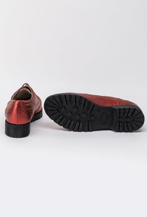 Pantofi Oxford din piele naturala rosu metalizat Letitia