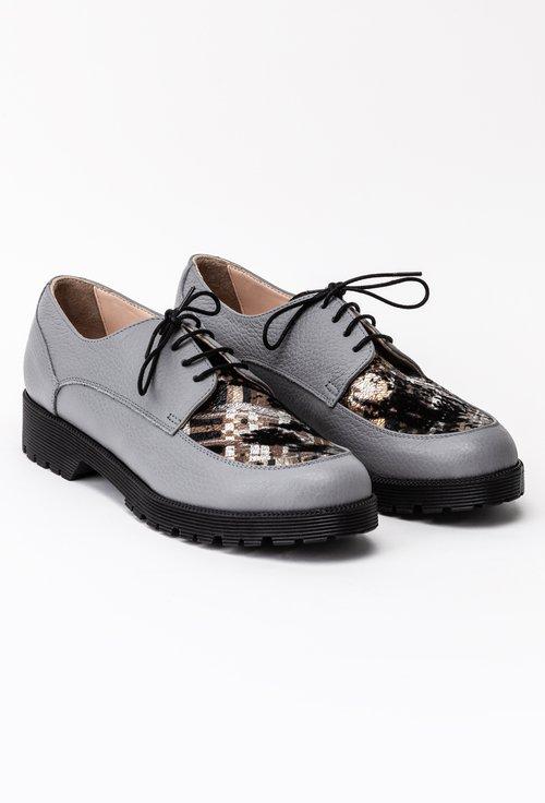 Pantofi Oxford gri din piele naturala cu detaliu in fata