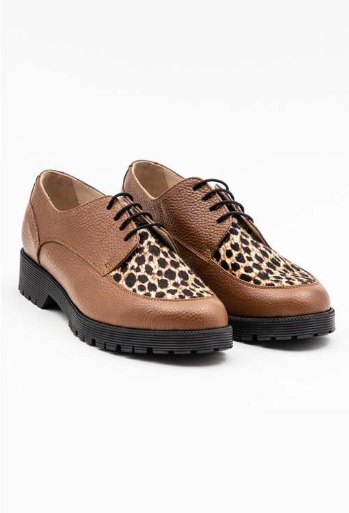 Pantofi Oxford maro din piele naturala cu animal print