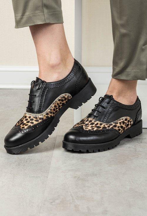Pantofi Oxford negri animal print din piele naturala Coco