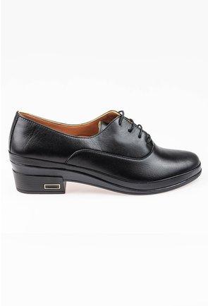 Pantofi Oxford negri cu siret in partea din fata