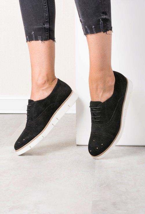 Pantofi Oxford negri din piele naturala intoarsa cu reflexii sidefate Mona