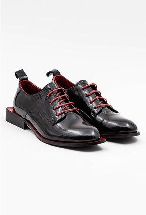 Pantofi Oxford negri din piele naturala lacuita