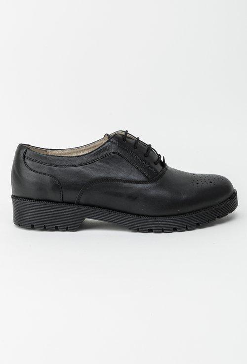 Pantofi Oxford negri din piele naturala Silvana