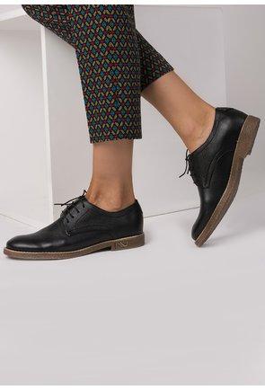 Pantofi Oxford negri din piele naturala Silvia