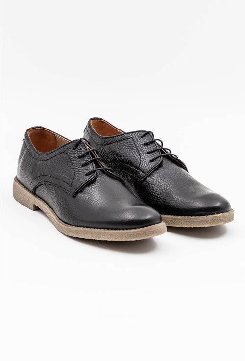 Pantofi Oxford negri din piele naturala texturata