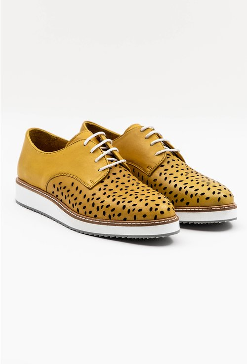 Pantofi Oxford nuanta galben mustar din piele