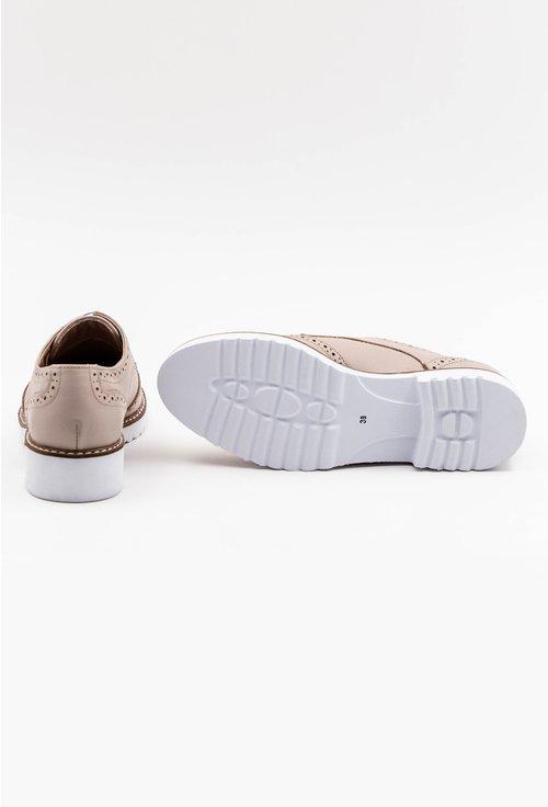 Pantofi Oxford nuanta nude din piele naturala cu talpa alba