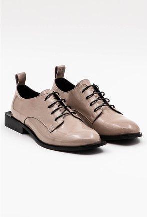 Pantofi Oxford nuanta taupe din piele naturala lacuita