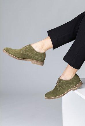 Pantofi Oxford nuanta verde inchis din piele naturala intoarsa