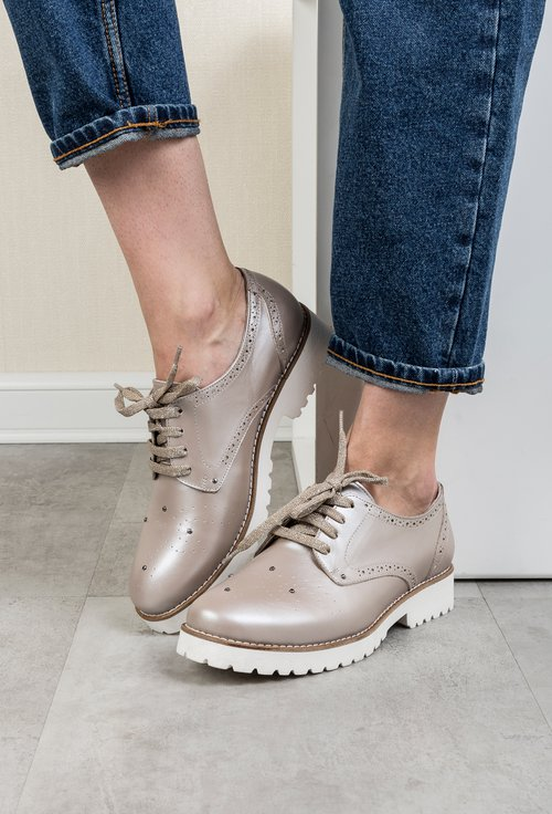 Pantofi Oxford nude sidefat din piele naturala Malini