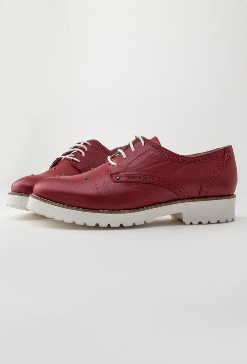 Pantofi Oxford rosii din piele naturala Malini