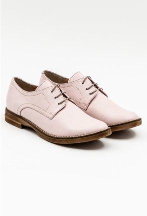 Pantofi oxford roz pal din piele naturala