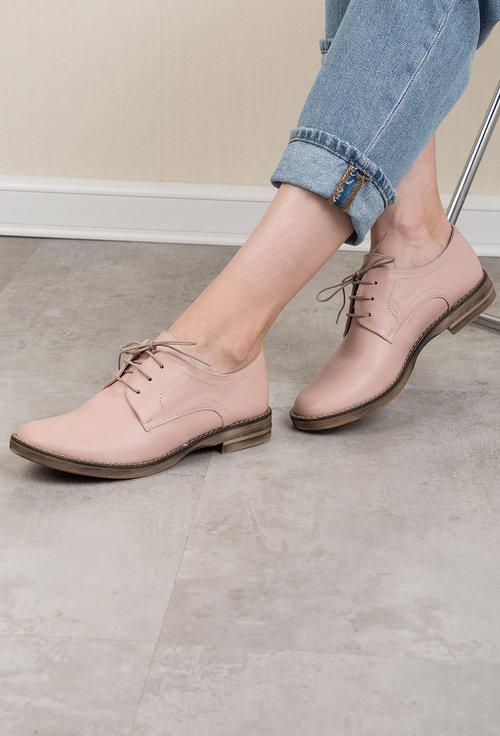 Pantofi oxford roze din piele naturala Mady