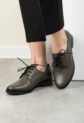 Pantofi Oxford verde olive din piele naturala Juliana