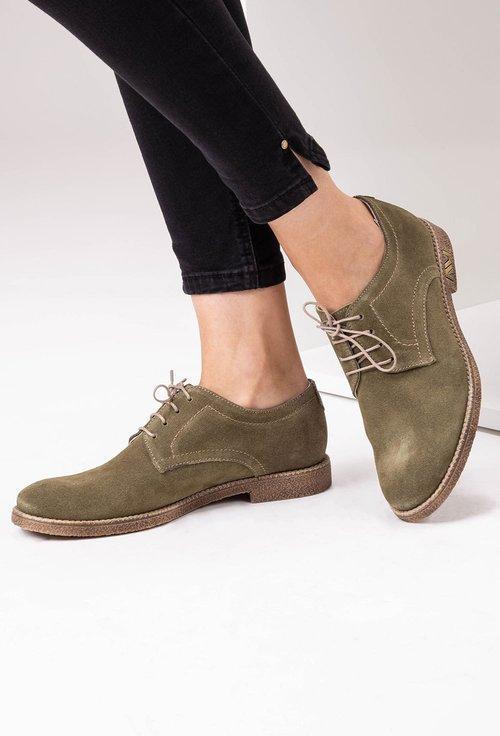 Pantofi Oxford verzi din piele naturala intoarsa
