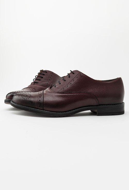 Pantofi Oxford visinii din piele naturala Ida