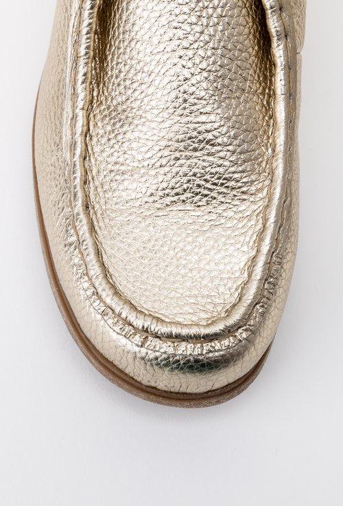 Pantofi aurii din piele naturala Verro