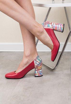Pantofi rosii cu imprimeu abstract din piele naturala Iarina