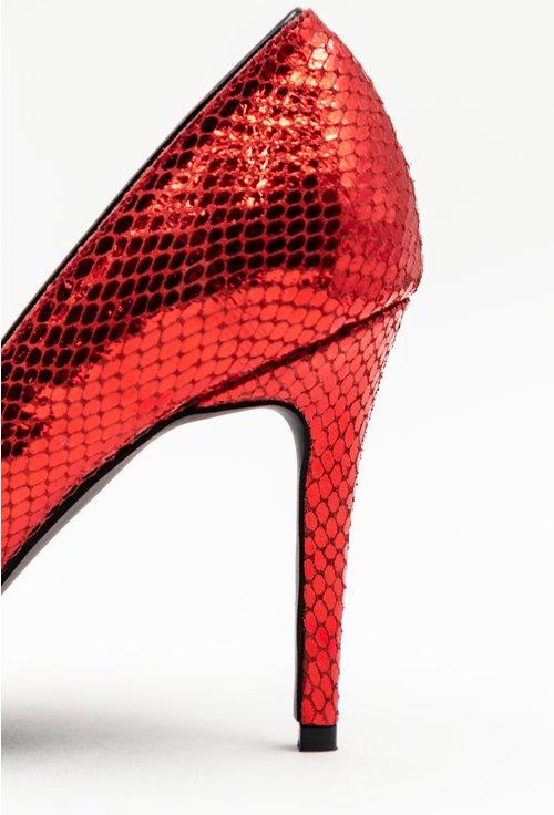 Pantofi rosii din piele naturala cu insertii sclipitoare