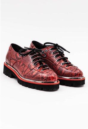 Pantofi rosii din piele naturala snake print