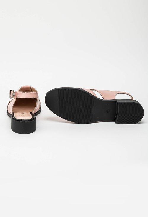 Pantofi roz din piele naturala cu model decupat Eda