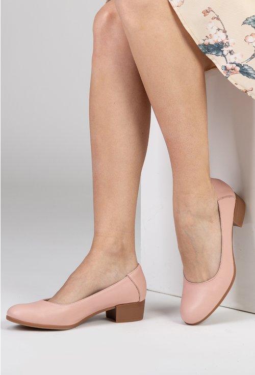 Pantofi roz din piele naturală cu toc maro