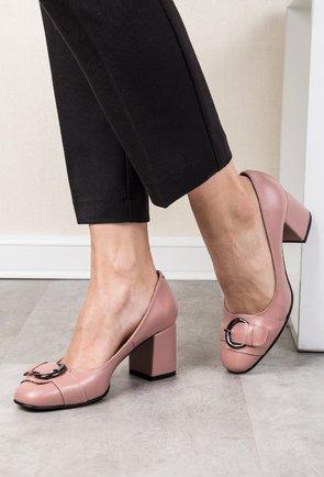 Pantofi roz pal din piele naturala Adele
