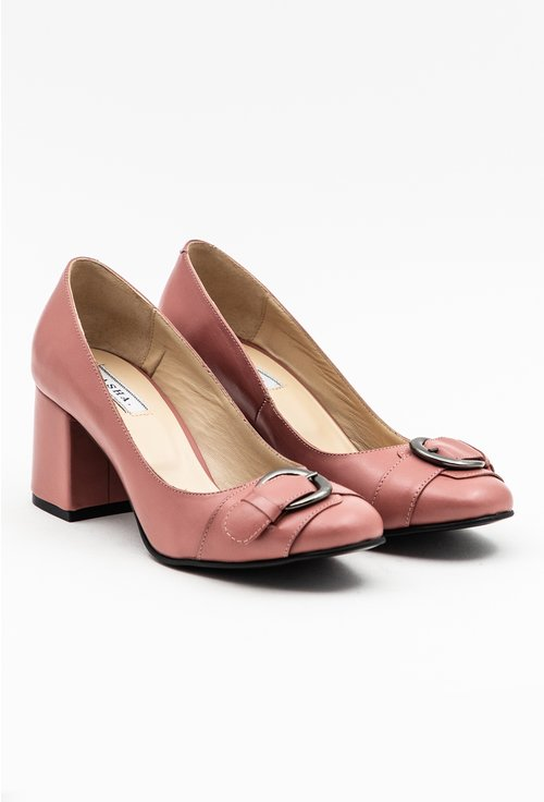 Pantofi roz pal din piele naturala cu accesoriu catarama