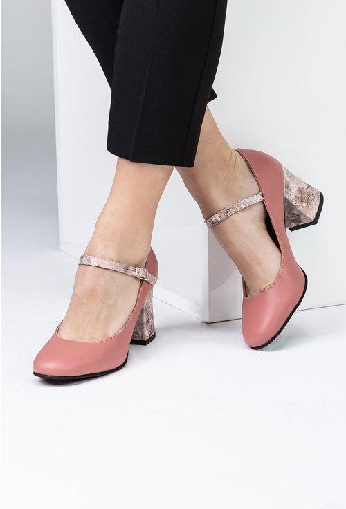 Pantofi roz pal din piele naturala cu detaliu pe toc