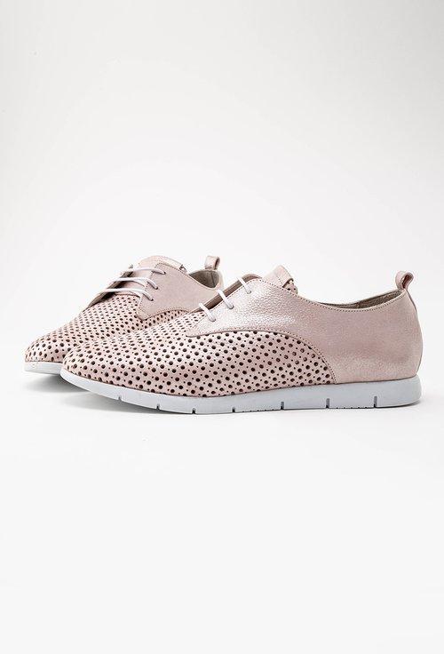 Pantofi roz pudra cu inseratii sclipitoare din piele naturala Nini