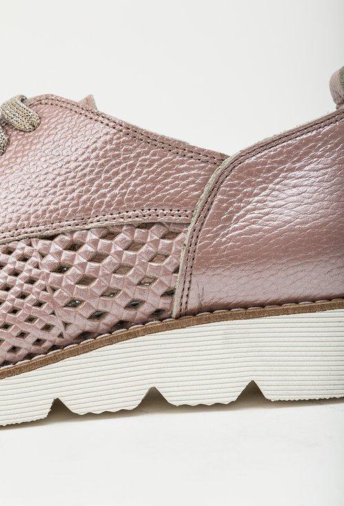 Pantofi roz sidefat din piele naturala Midori