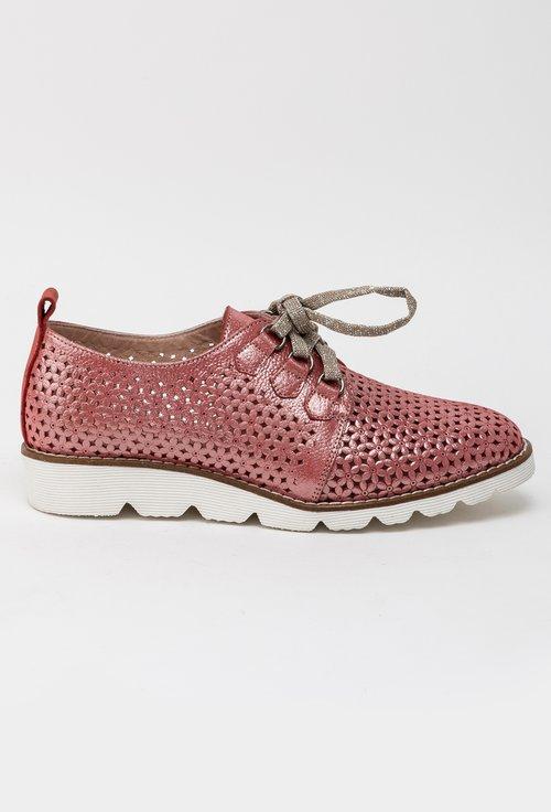 Pantofi roz trandafiriu din piele naturala Flower