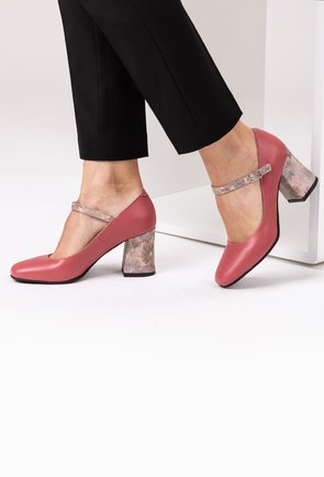 Pantofi roz trandafiriu din piele naturala Stacy