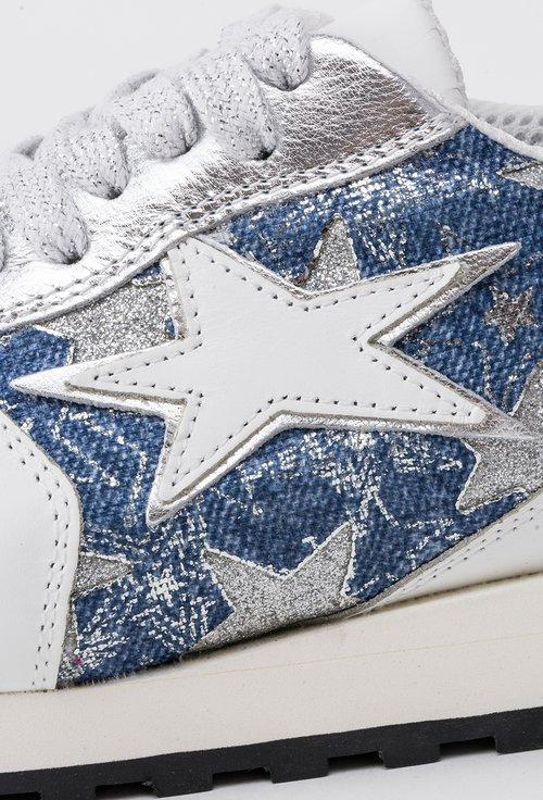 Pantofi sport alb cu denim si argintiu din piele naturala Starlette