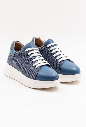 Pantofi sport albastri in carouri din piele