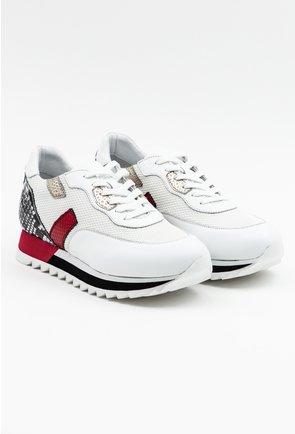 Pantofi sport albi cu detalii rosii si cu imprimeu tip piele de sarpe