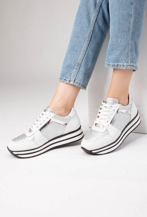 Pantofi sport albi din piele naturala Accent