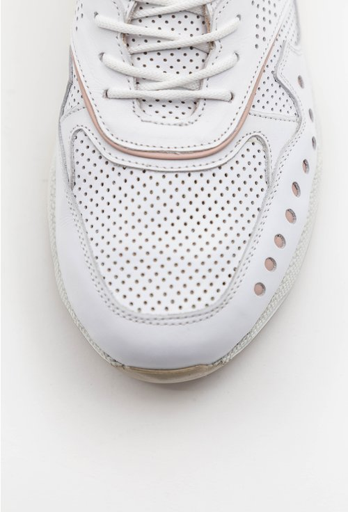 Pantofi sport albi din piele naturala  cu detalii nude